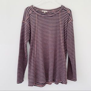 Easel Oversized Striped Long Sleeve Top
